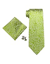 Landisun Paisleys Mens Silk Tie Set: Necktie+Hanky+Cufflinks 97H Bright Green White, 3.25