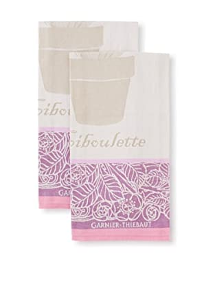 Garnier-Thiebaut Set of 2 Ciboulette Violette Kitchen Towels