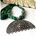 Large silver Ganesha pendant with green thread necklace