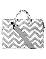 Laptop Shoulder Bag / Briefcase, Mosiso Chevron Gray Canvas Fabric Carrying Case Bag for 12.9 iPad Pro / 13.3 Inch Laptop / Notebook Computer / MacBook Air / MacBook Pro, Chevron Gray