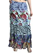 Exotic India Blue Crushed Elastic Skirt with Floral Print - Blue