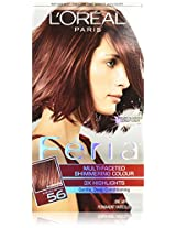 L'Oreal Feria Multi-Faceted Shimmering Colour 3X Highlights Permanent Haircolour Gel 56 Brilliant Bordeaux - Auburn Brown