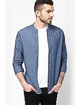 Blue Plain Casual Shirt Incult