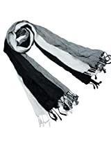 Viscose Men's Triple Color Layer Fringed Scrunch Long Scarf - Black and White