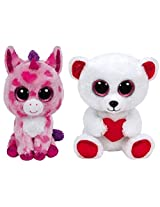 Ty 2016 Valentines Beanie Boos Bundle Set With Sugar Pie And Cuddly Bear