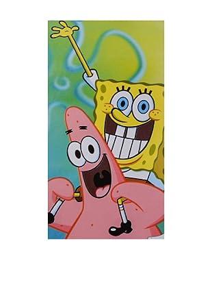 Nickelodeon Toalla de Playa Terciopelo Bob Esponja y Patricio (Multicolor)