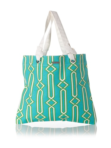 Julie Brown Reversible Shopper Tote (Green Jenjule/Polka Dot)
