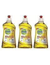 Dettol Kitchen Dish and Slab Gel - 400 ml (Lemon Fresh, Pack of 3)
