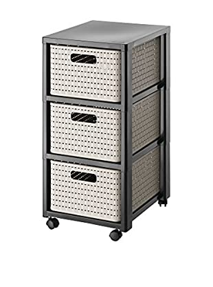 Rotho Korbregal Tower Country Rattan schwarz/cappuccino