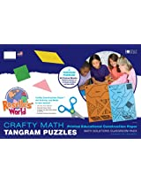Roselle Crafty Math Printed Educational Construction Paper, Tangram Puzzles Assortment Pad, 12 x 18 Inches, Assorted Colors, 60 Count (02820-4)