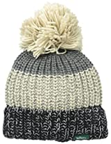 Woolrich Women's Wool Blend Black Chunky Slouch Cuff Beanie with Matching Pom