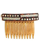 DollsofIndia White Crystal Studded Designer Hair Comb - Acrylic and Crystal - Brown