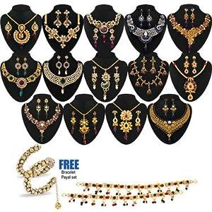 Anmol 1 Gram Gold Plated 14 Jewellery Set