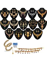 Anmol 1 Gram Gold Plated 14 Jewellery Set - AKSO