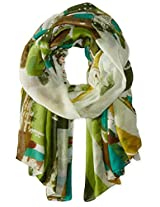 Saro Lifestyle Women's Abstract Rose Design Shawl, Teal, One Size