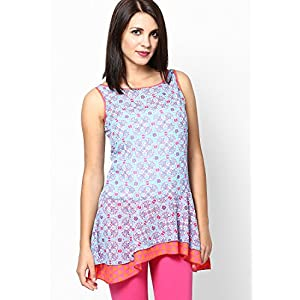 Blue Printed High Low Hem Georgette Kurti