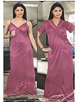 Indiatrendzs Womens Silk Satin 2pc set Nighty Pink Sexy Nightwear freesize
