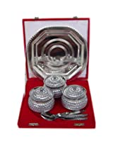 Rastogi Handicrafts Decorative Three Bowl Tray Serving Set ! Studded work (Bowl capacity 200 ml each )