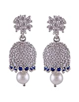 Silver Prince 9 Grm Pearl, White Cubic Zirconia, Blue Cubic Zirconia Bestseller 925 Silver Earrings