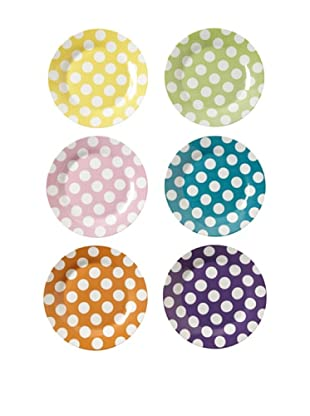 Classic Coffee & Tea White Dots Dessert Plates, Set of 6 (Assorted)