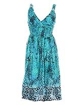 Pure Nautanki Women's Cotton V-Neck dress (SK-1647_L, Green , L)