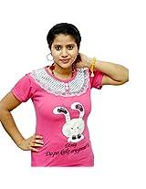 Odishabazaar Women's Cotton Disniy Printed Pink T-shirt S
