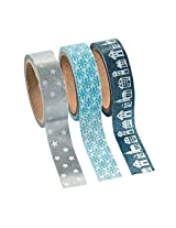 Winter Washi Tape 16 Ft. Of Tape Per Roll (3 Rolls Per Unit) Stars, Snowflakes Model: , Toys & Games For Kids & Child