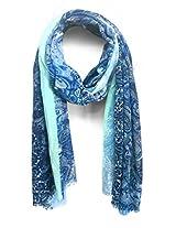 ScarfKing Paisley Design Printed Polyester Women Scarf-Steel Blue
