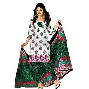 Salwar Studio White & Green Cotton unstitched churidar kameez with dupatta RT...