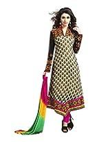Surat Tex Cream & Black Color Wear Georgette Semi-Stitched salwar suits