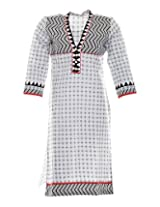 Vinorisa Girl's Cotton Regular Fit Kurti (Black & White, X-Large)
