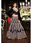 bollywood replica Deepika Padukone Blue Lehenga In Manish Malhotra At Delhi Couture
