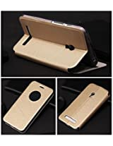 For Asus Zenfone 5 A501CG Smart Leather Sensor Window Flip Cover Case with Back Stand - GOLD