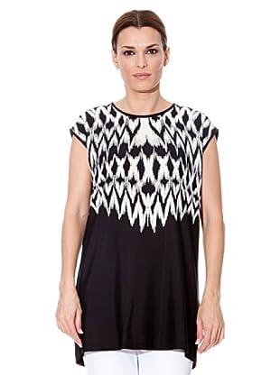 Cortefiel Camiseta Larga (Negro / Blanco)