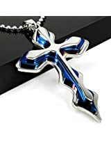 Blue Stylemark Smart Stainless Steel Cross Pendant for Men by YELLOW CHIMES