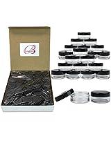 (50 Pcs) Beauticom 3 G/3 Ml High Quality Clear Round Cosmetic Pot Jars With Black Screw Cap Lids