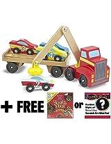 Wooden Magnetic Car Loader + FREE Melissa & Doug Scratch Art Mini-Pad Bundle [93903]