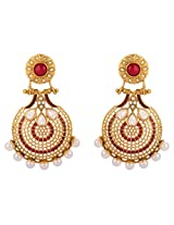 Rajwada Arts Modern Style Beautiful Chaandbali Earring with Red and White stones for Women