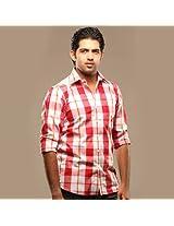 Swank Mens Casual Slim Fit Shirt Red Checks