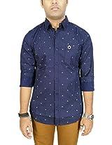 AA' Southbay Men's Dark Blue 100% Cotton Polka Printed Long Sleeve Casual Shirt