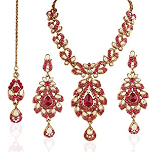 I Jewels traditional gold plated Kundan necklace with Maang Tika in Rani Colour