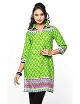 Purab Paschim Women's Cotton Printed Jasmine Green Kurti (20717) Large (OLT20717JGL)