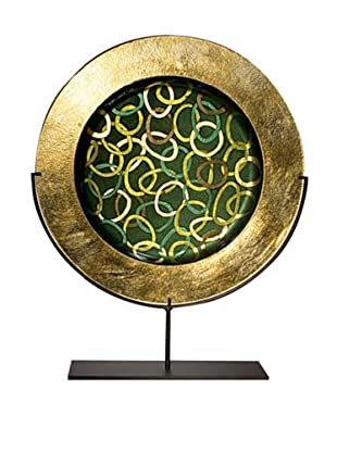 Golden Green Plate on Stand