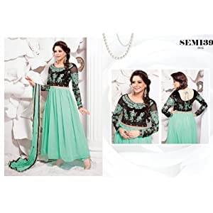 Designer Aqua Green and Black Long Anarkali Suit
