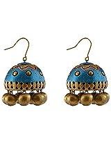 Avarna Terracotta Jhumki Hanging Earrings Jhb0006 For Women (Blue )