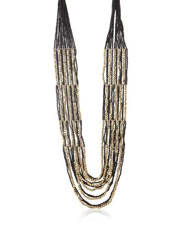 La Croix Rousse Beaded Necklace, Gold/Black