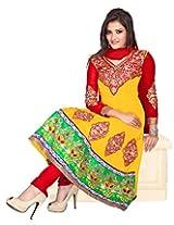 Khushali Women's unstitched Georgette Anarkali Salwar Suit dress Material (yellow)