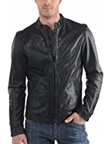 HugMe.fashion Men's Leather Jacket (JK19_Black_S, Black, S)