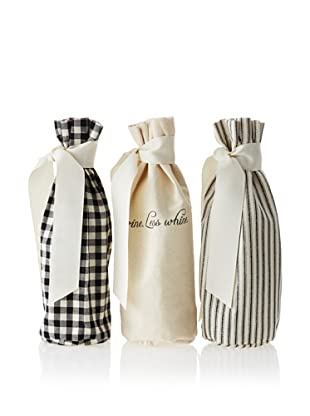 French Laundry Set of 3 Wine Bags, Black