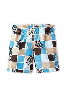 Azul Swimwear Boy's Turtle Grid Boardshorts (Blue)